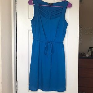 Blue dress with tie-able waist